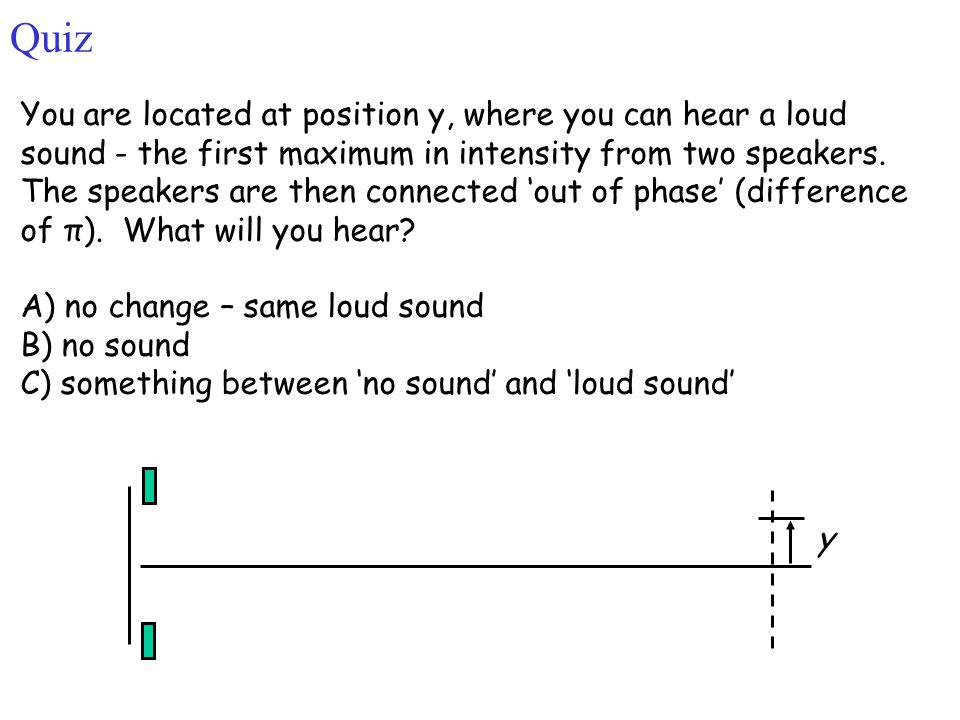 Quiz You are located at position y, where you can hear a loud