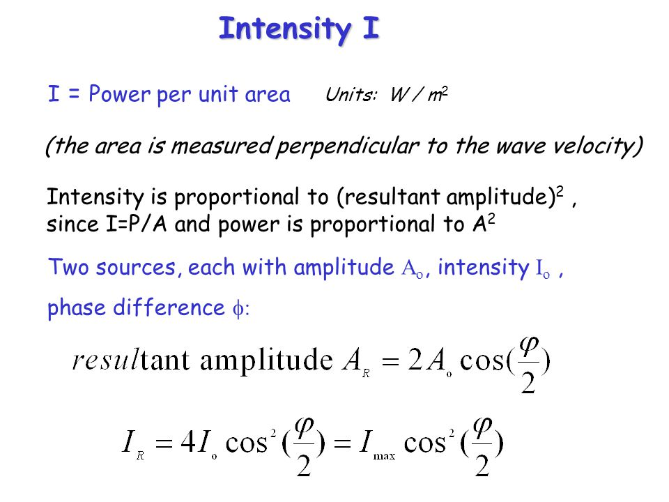 Intensity I I = Power per unit area Units: W / m2