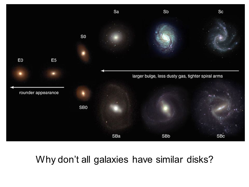 Why don't all galaxies have similar disks