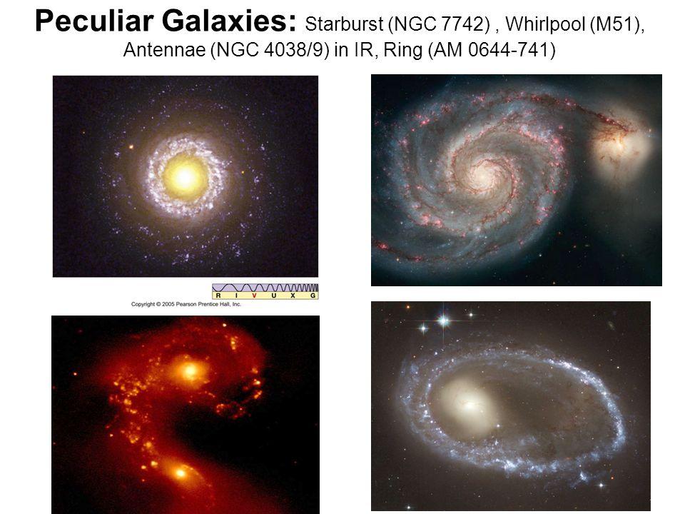 Peculiar Galaxies: Starburst (NGC 7742) , Whirlpool (M51), Antennae (NGC 4038/9) in IR, Ring (AM 0644-741)