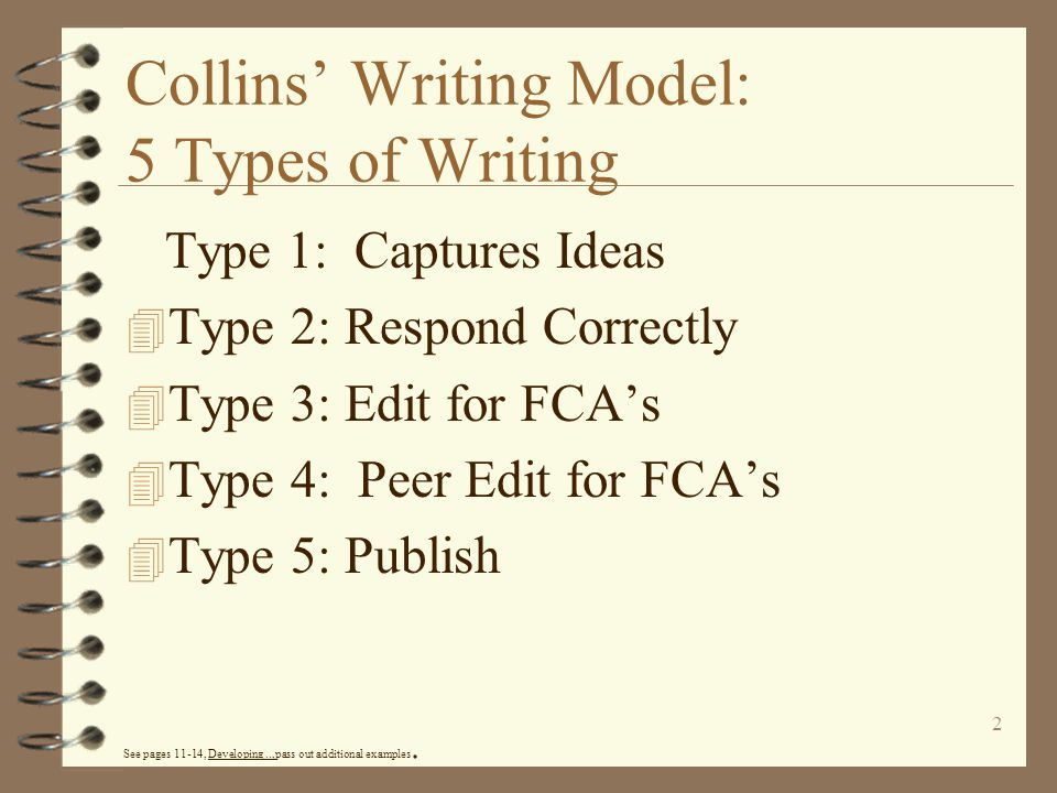 Collins' Writing Model: 5 Types of Writing