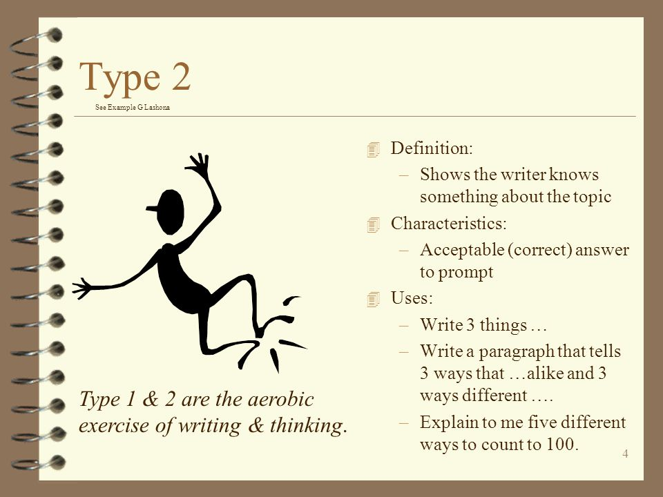Type 2 Type 1 & 2 are the aerobic exercise of writing & thinking.