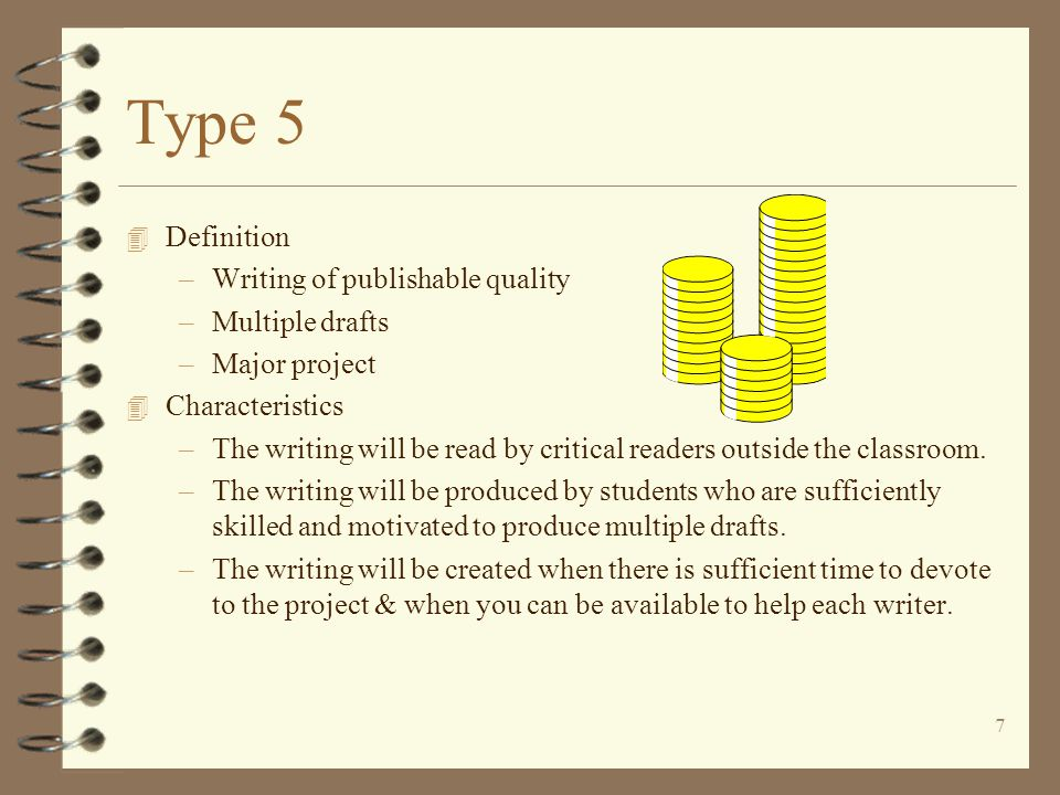 Type 5 Definition Writing of publishable quality Multiple drafts