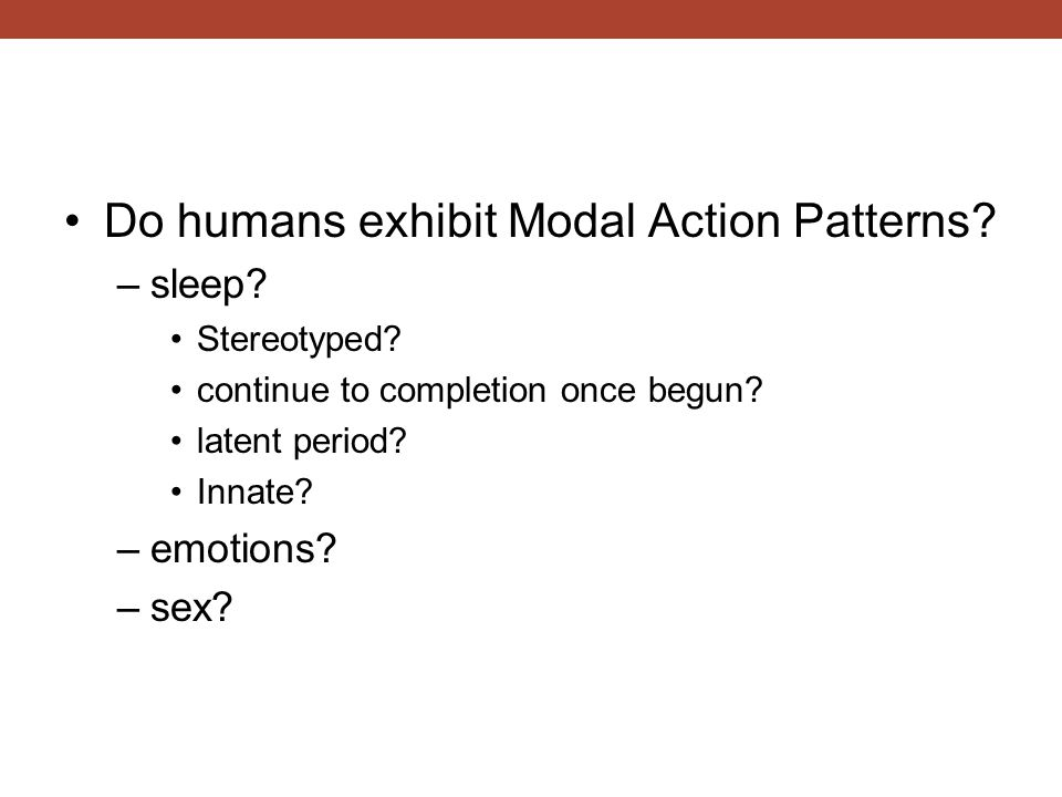Do humans exhibit Modal Action Patterns