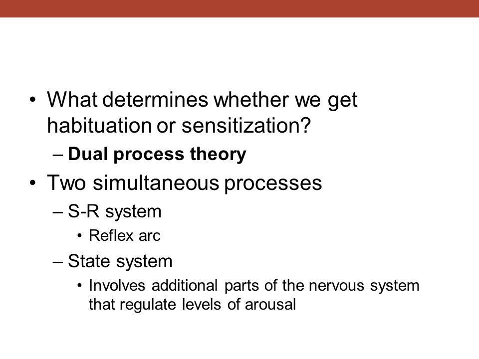 What determines whether we get habituation or sensitization