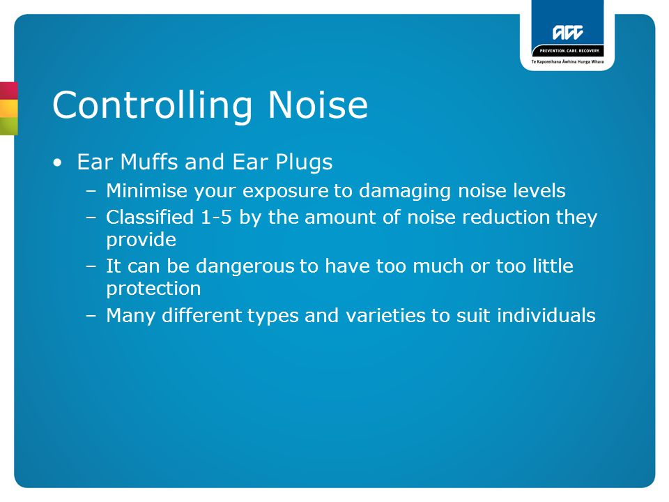 Controlling Noise Ear Muffs and Ear Plugs