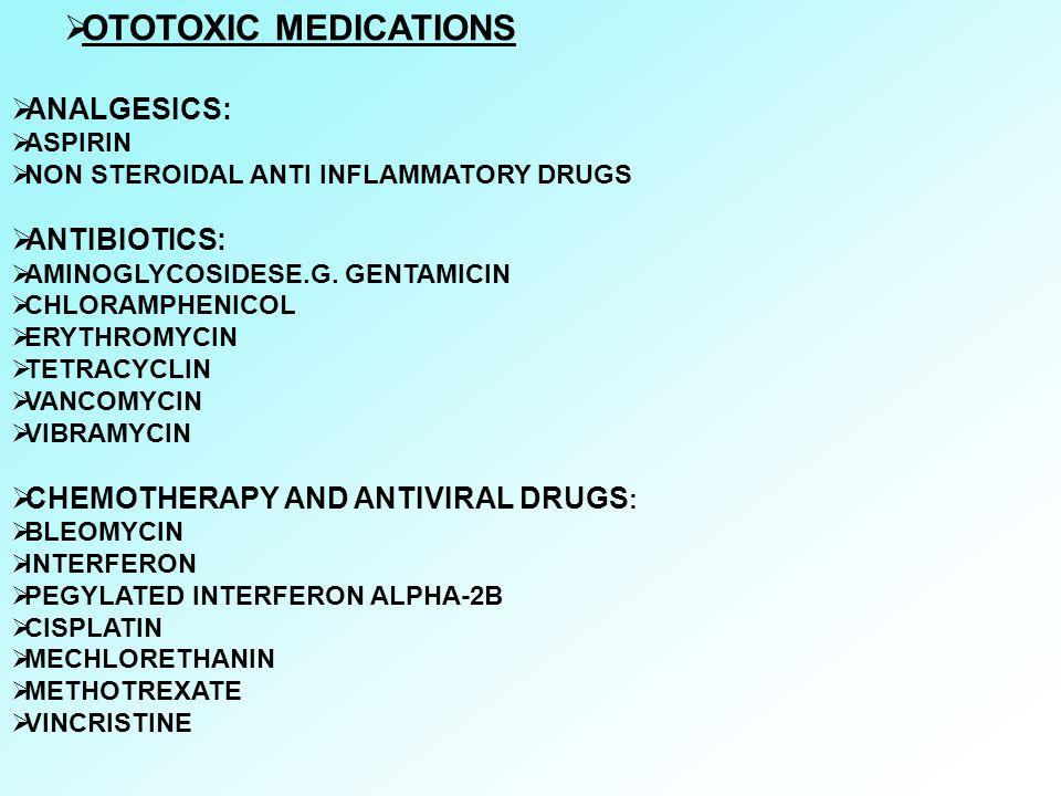 OTOTOXIC MEDICATIONS ANALGESICS: ANTIBIOTICS: