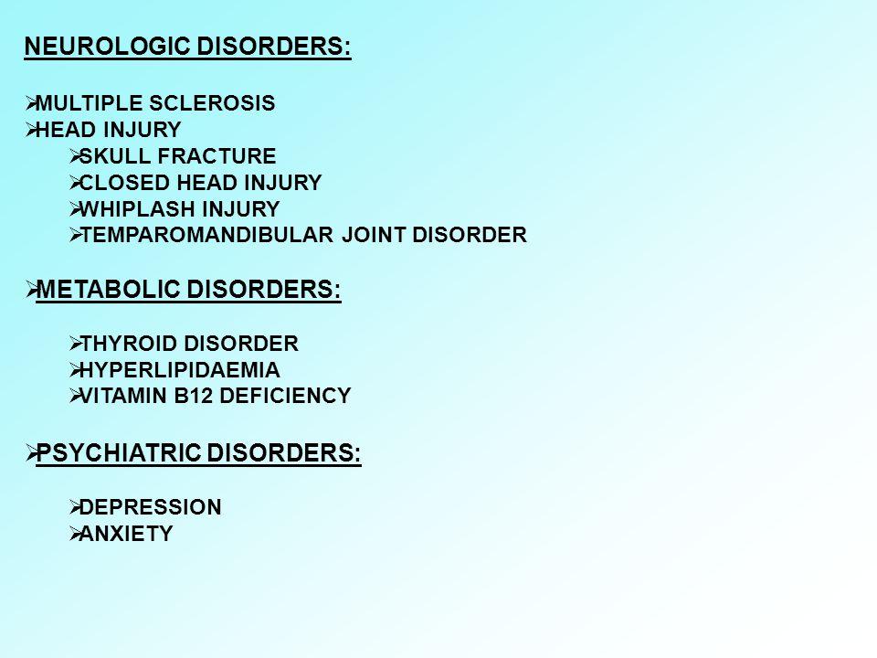 NEUROLOGIC DISORDERS: