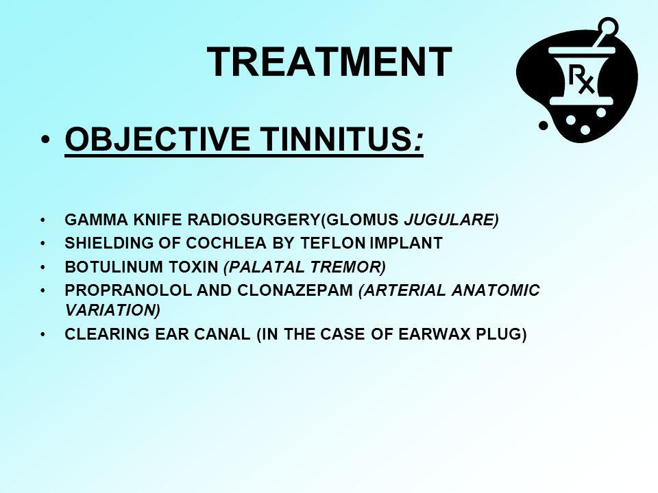 TREATMENT OBJECTIVE TINNITUS: