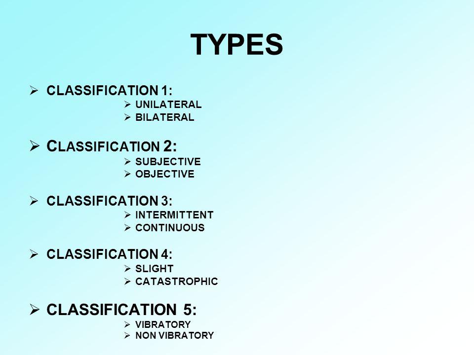 TYPES CLASSIFICATION 2: CLASSIFICATION 5: CLASSIFICATION 1: