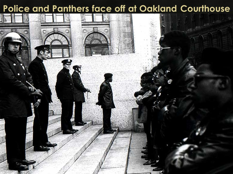 Police and Panthers face off at Oakland Courthouse