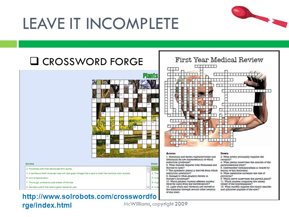 LEAVE IT INCOMPLETE CROSSWORD FORGE