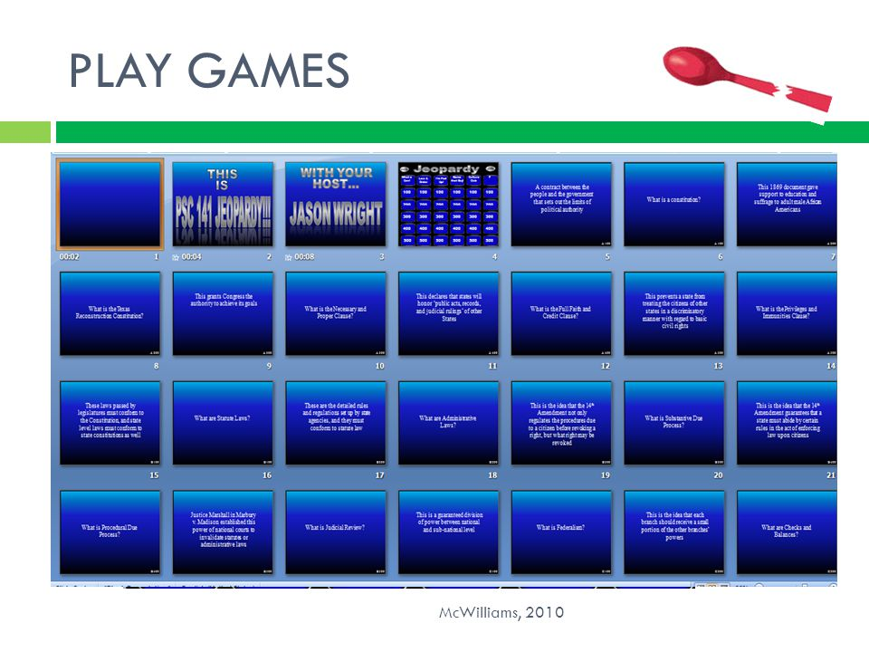 PLAY GAMES McWilliams, 2010