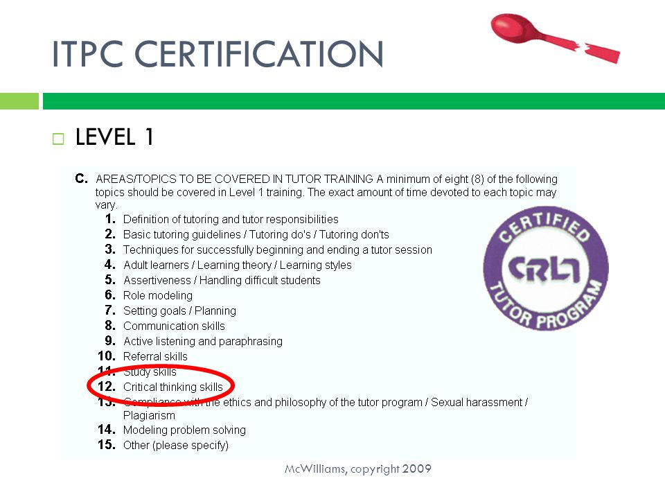 ITPC CERTIFICATION LEVEL 1 McWilliams, copyright 2009