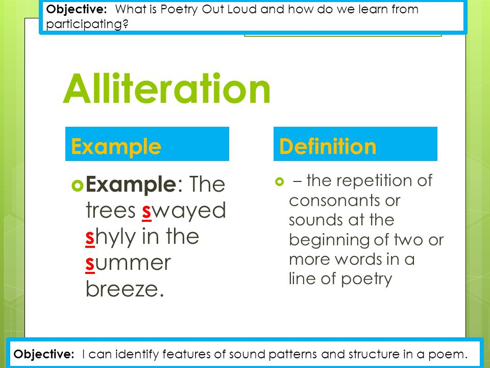 Alliteration example definition ppt video online download for Alliteration poem template
