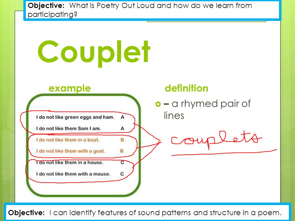 Couplet example definition – a rhymed pair of lines
