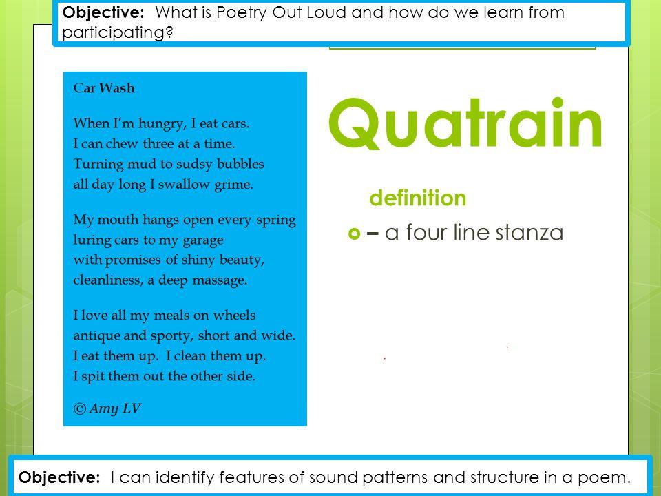 Quatrain definition – a four line stanza
