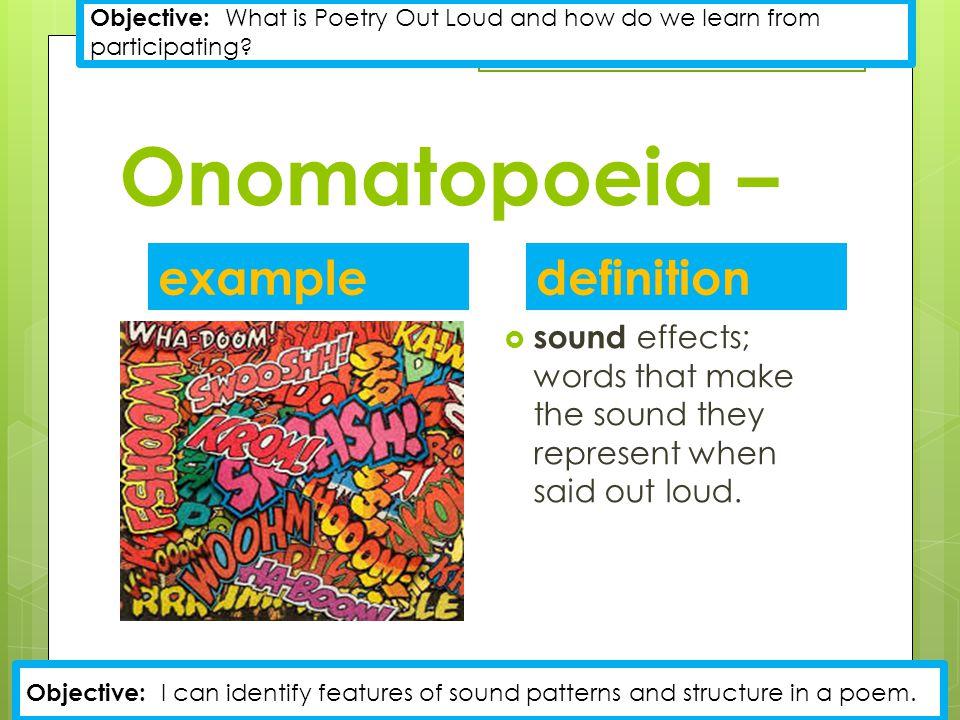 Onomatopoeia – example definition