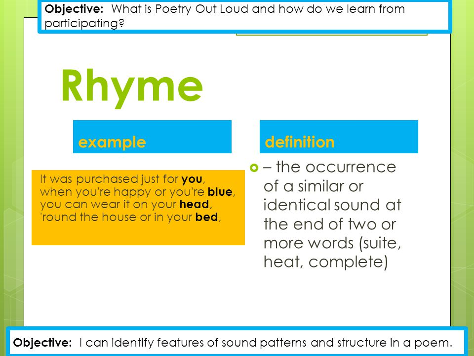 Rhyme example definition