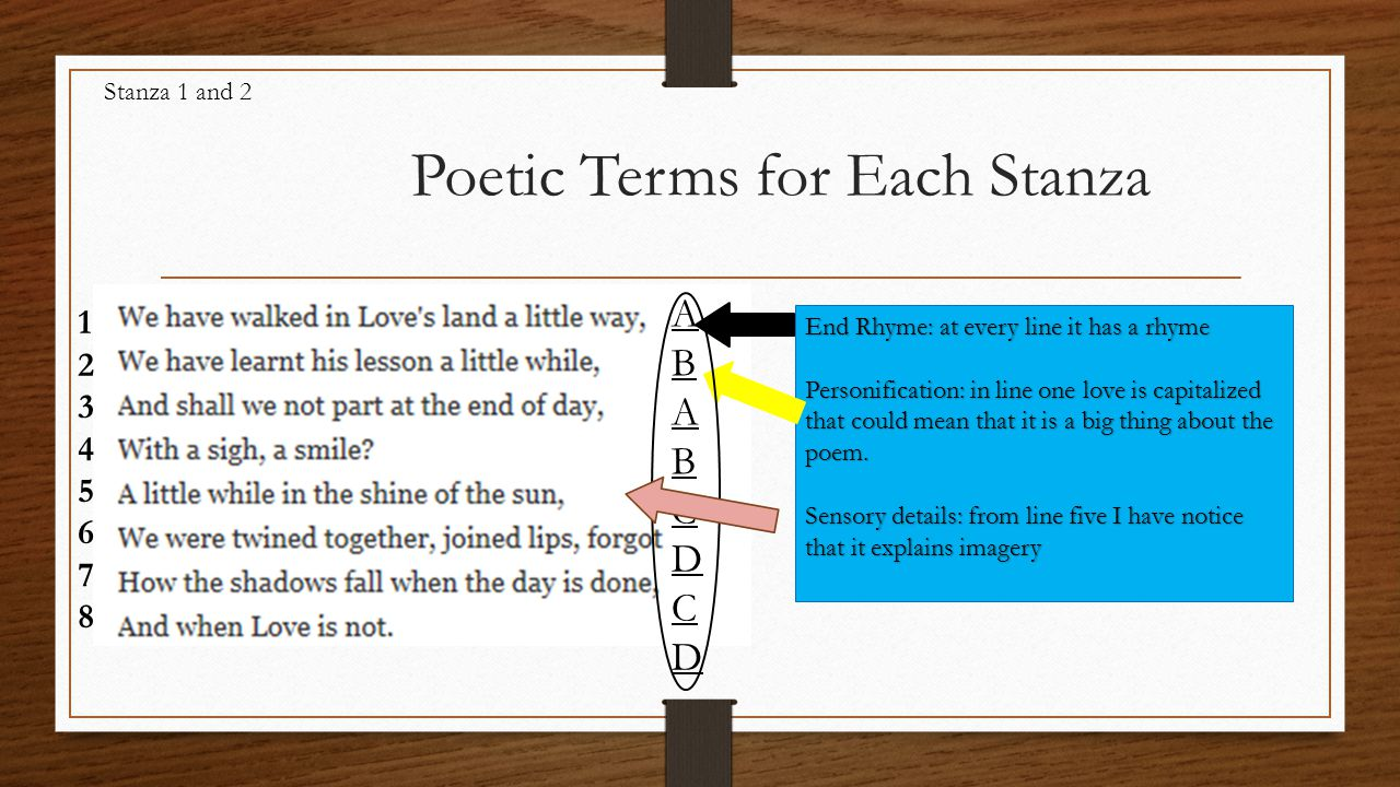 Poetic Terms for Each Stanza