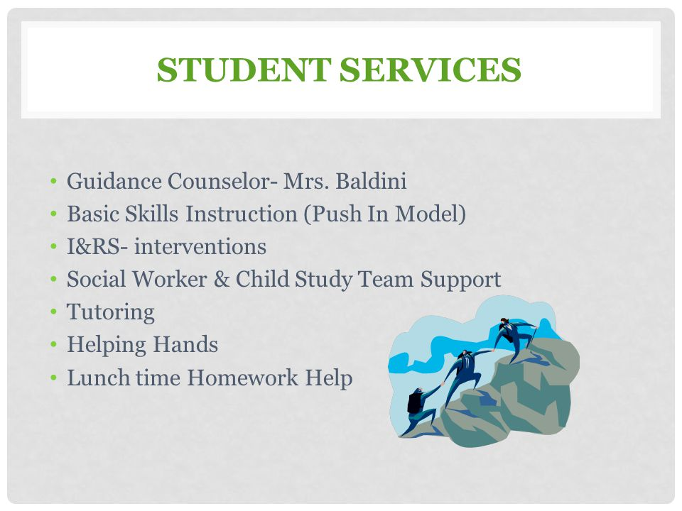 Student Services Guidance Counselor- Mrs. Baldini