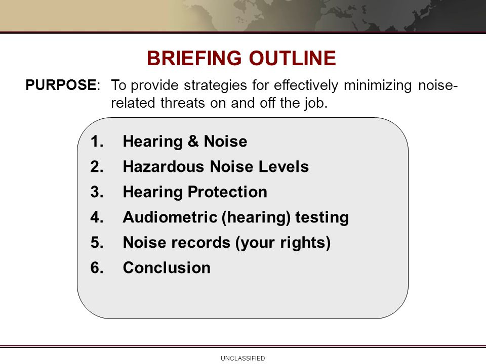 BRIEFING OUTLINE 1. Hearing & Noise 2. Hazardous Noise Levels