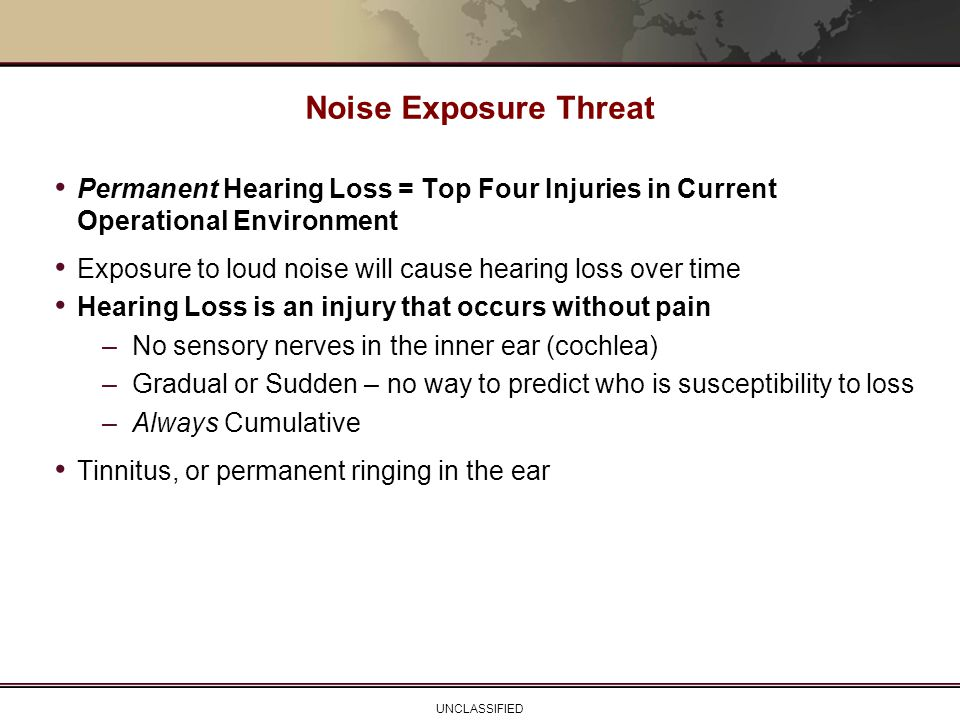 Noise Exposure Threat Permanent Hearing Loss = Top Four Injuries in Current Operational Environment.