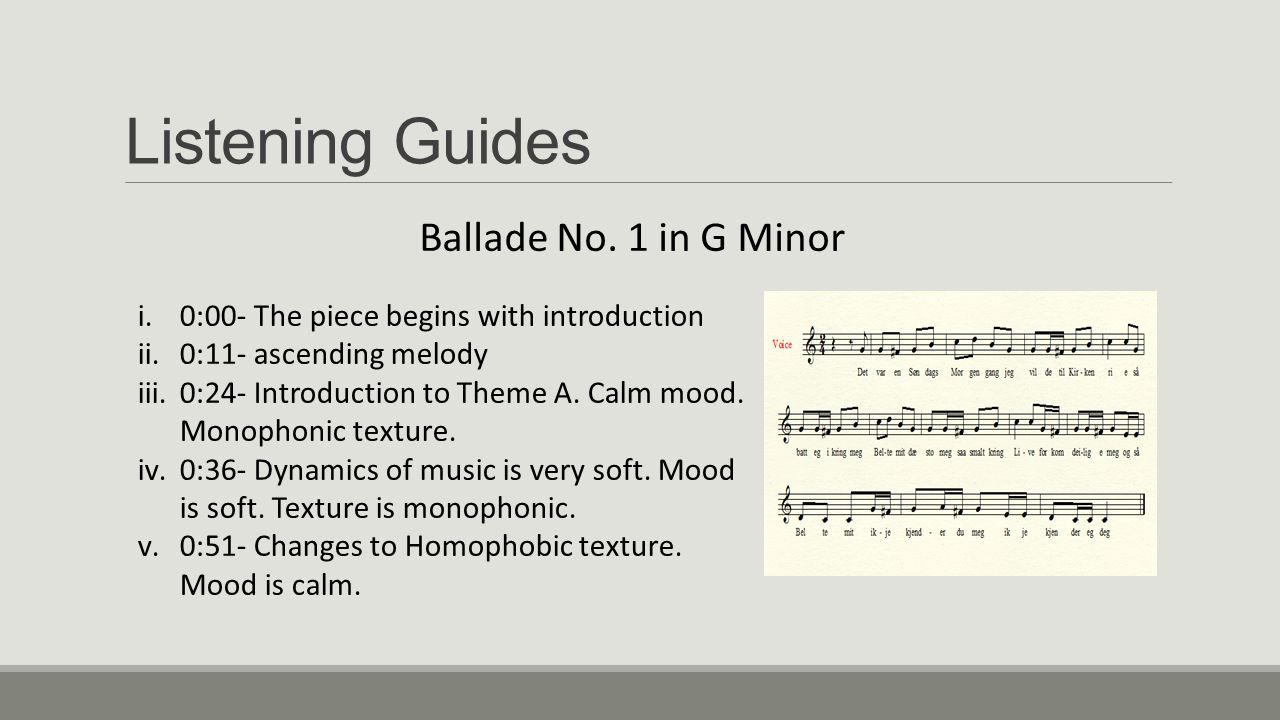 Listening Guides Ballade No. 1 in G Minor