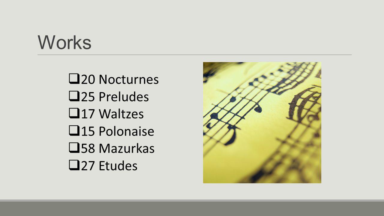 Works 20 Nocturnes 25 Preludes 17 Waltzes 15 Polonaise 58 Mazurkas