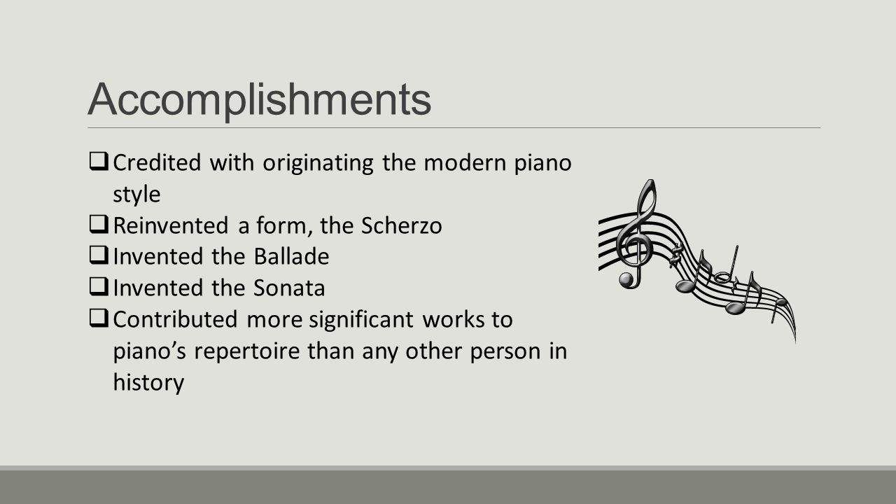 Accomplishments Credited with originating the modern piano style