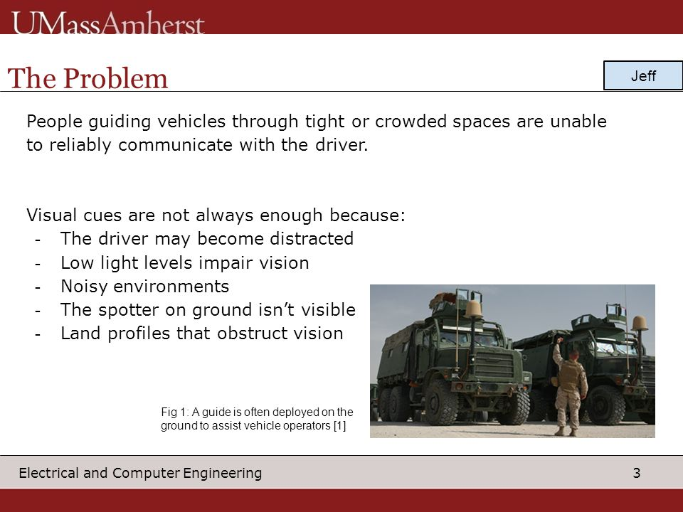 The Problem Jeff. People guiding vehicles through tight or crowded spaces are unable. to reliably communicate with the driver.