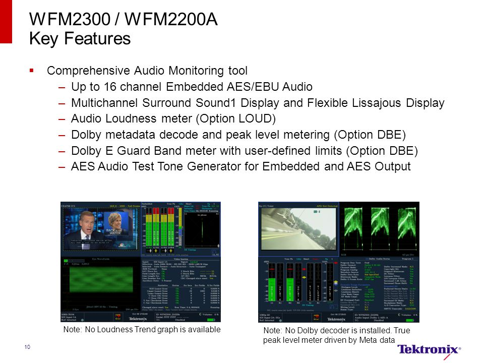 WFM2300 / WFM2200A Key Features Comprehensive Audio Monitoring tool