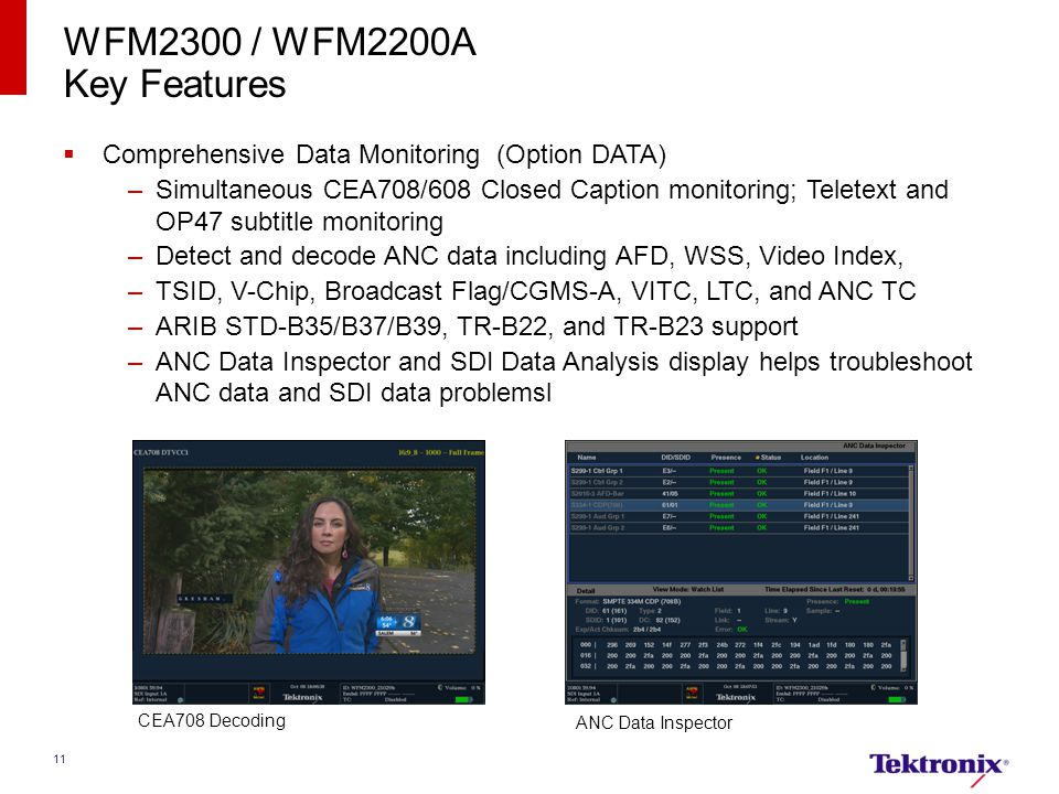 WFM2300 / WFM2200A Key Features. Comprehensive Data Monitoring (Option DATA)