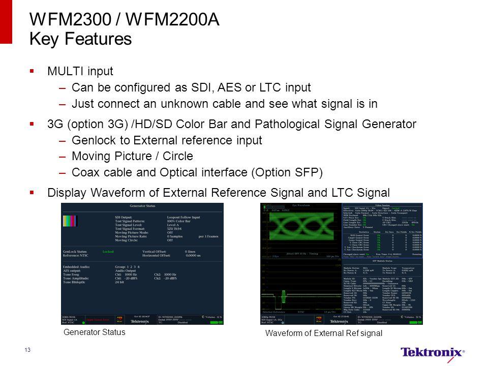 WFM2300 / WFM2200A Key Features MULTI input