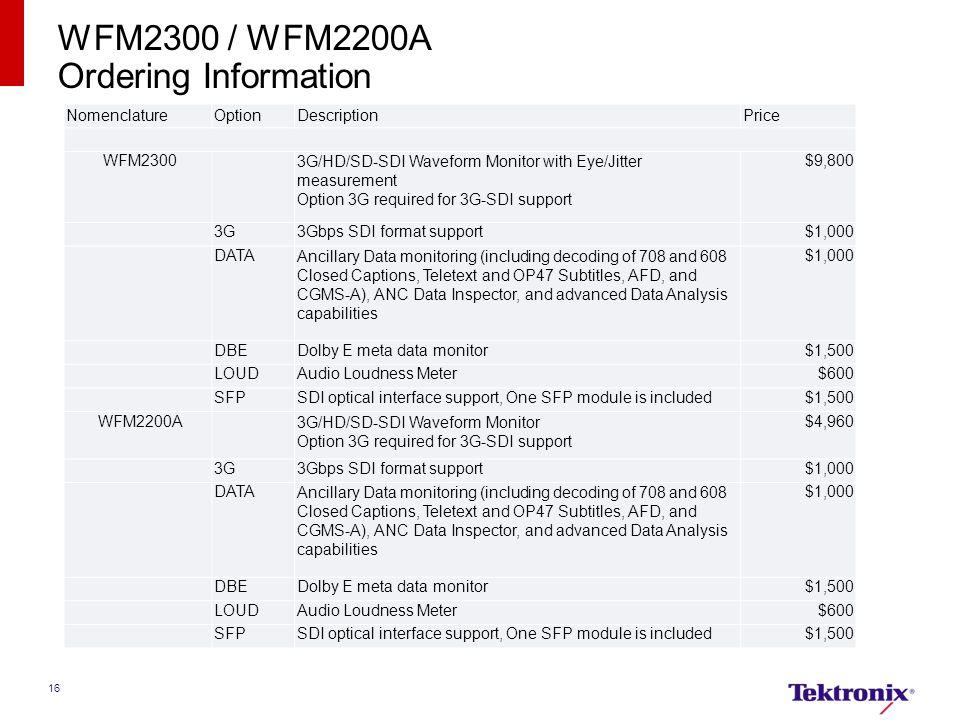 WFM2300 / WFM2200A Ordering Information Nomenclature Option