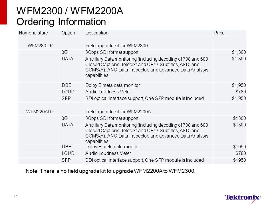 WFM2300 / WFM2200A Ordering Information
