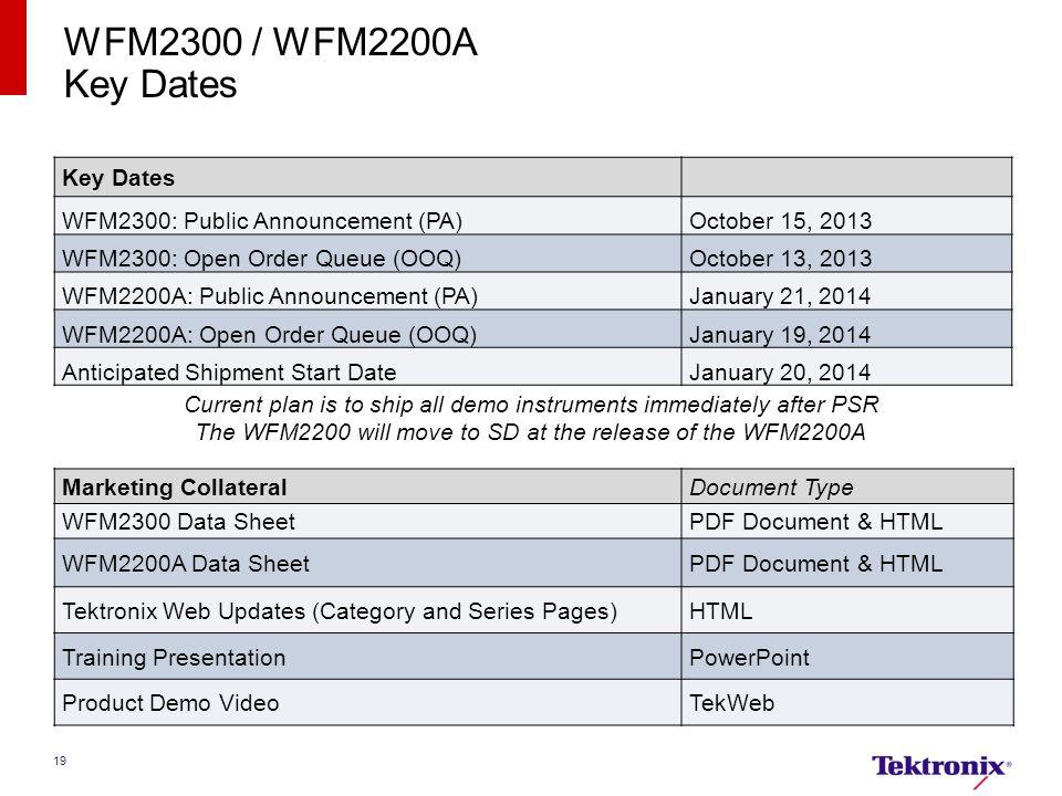 WFM2300 / WFM2200A Key Dates Key Dates