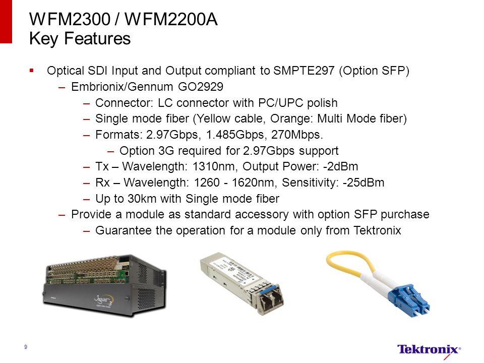 WFM2300 / WFM2200A Key Features. Optical SDI Input and Output compliant to SMPTE297 (Option SFP) Embrionix/Gennum GO2929.