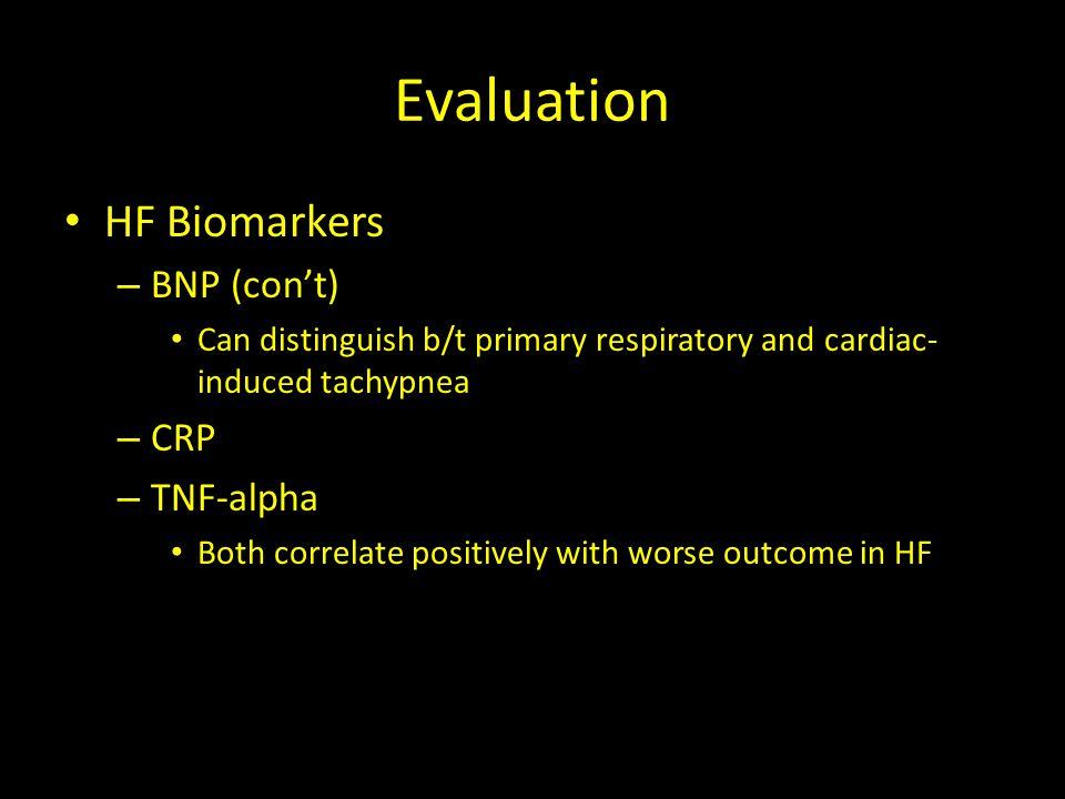 Evaluation HF Biomarkers BNP (con't) CRP TNF-alpha