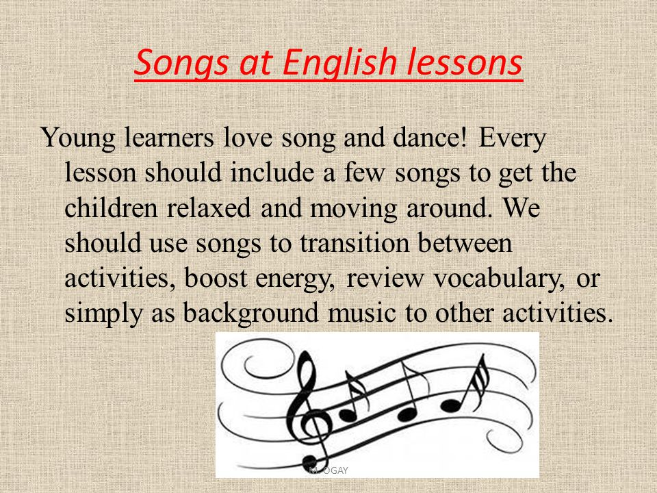 Songs at English lessons