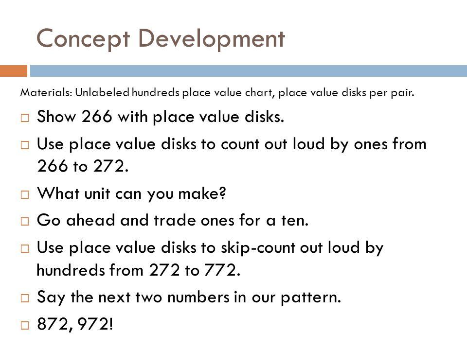 Concept Development Show 266 with place value disks.