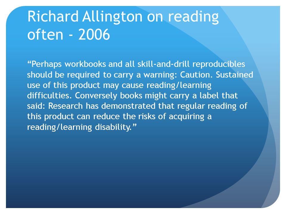 Richard Allington on reading often - 2006