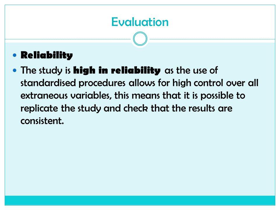 Evaluation Reliability
