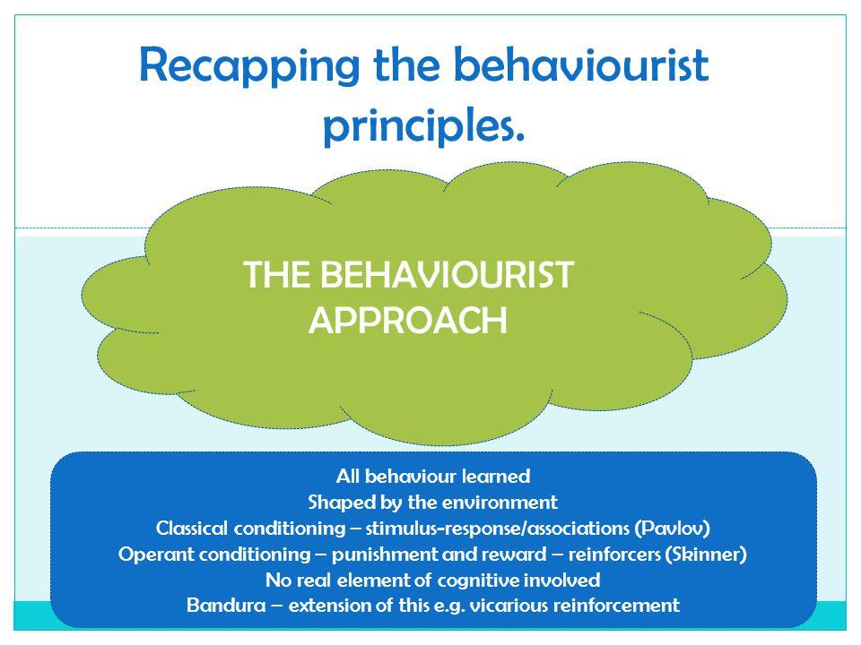 Recapping the behaviourist principles.