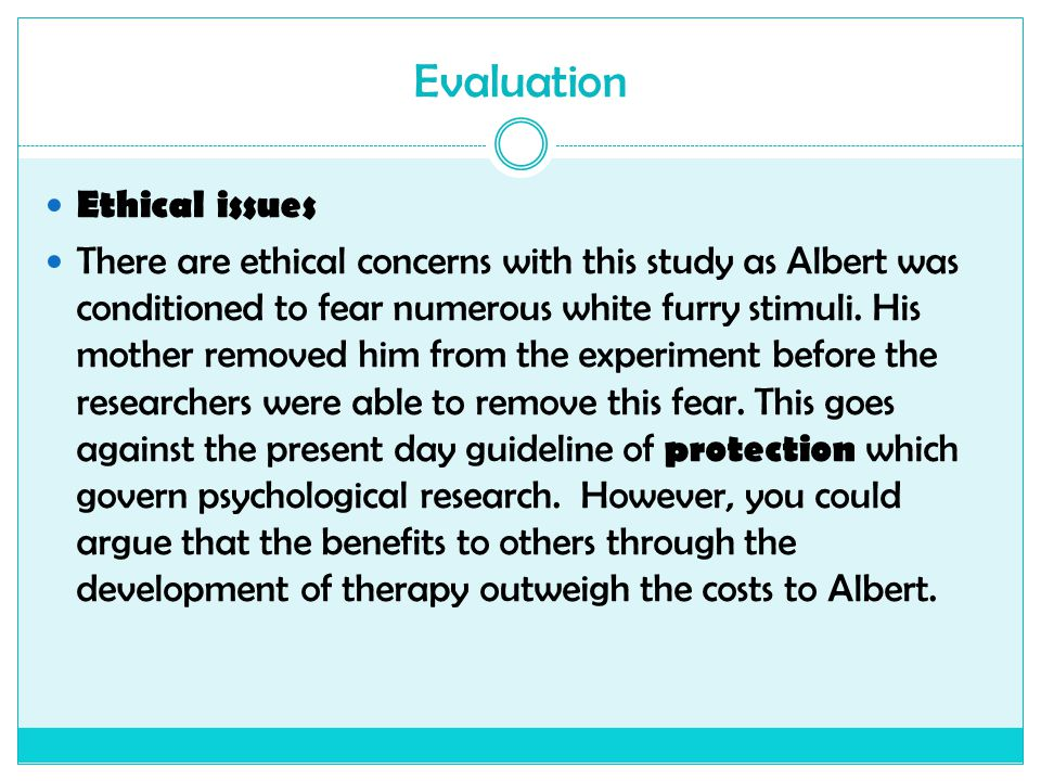 Evaluation Ethical issues