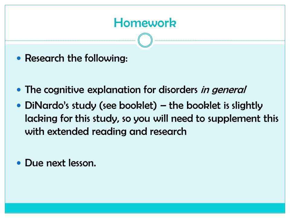 Homework Research the following: