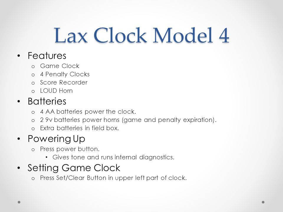 Lax Clock Model 4 Features Batteries Powering Up Setting Game Clock