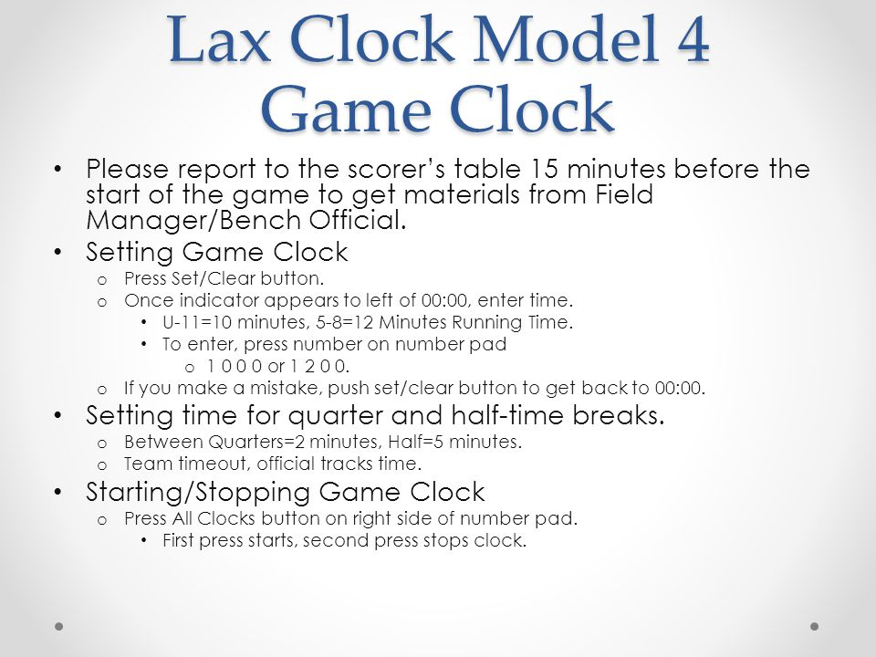 Lax Clock Model 4 Game Clock