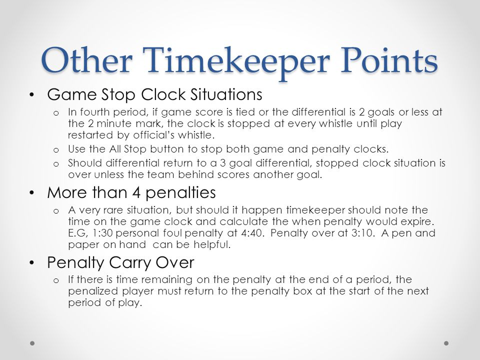 Other Timekeeper Points
