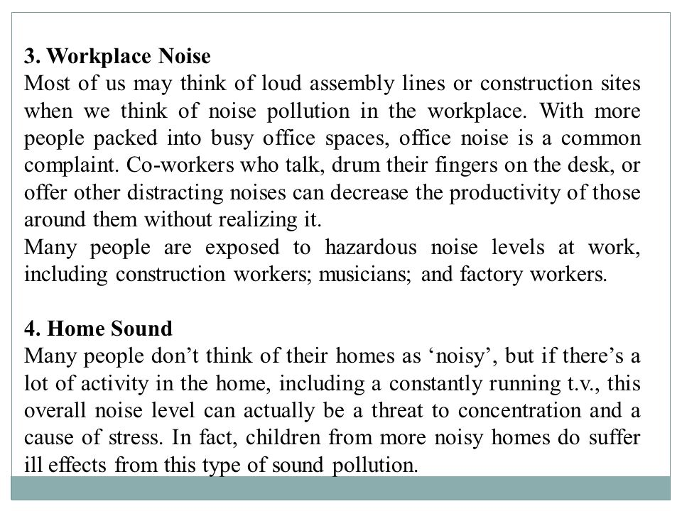 3. Workplace Noise